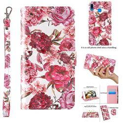 Red Flower 3D Painted Leather Wallet Case for Samsung Galaxy A40