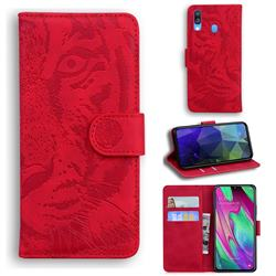 Intricate Embossing Tiger Face Leather Wallet Case for Samsung Galaxy A40 - Red