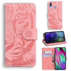 Intricate Embossing Tiger Face Leather Wallet Case for Samsung Galaxy A40 - Pink