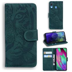 Intricate Embossing Tiger Face Leather Wallet Case for Samsung Galaxy A40 - Green