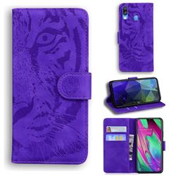 Intricate Embossing Tiger Face Leather Wallet Case for Samsung Galaxy A40 - Purple