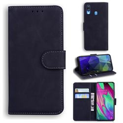Retro Classic Skin Feel Leather Wallet Phone Case for Samsung Galaxy A40 - Black