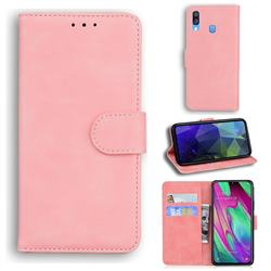 Retro Classic Skin Feel Leather Wallet Phone Case for Samsung Galaxy A40 - Pink