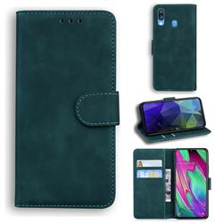 Retro Classic Skin Feel Leather Wallet Phone Case for Samsung Galaxy A40 - Green