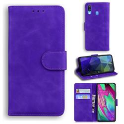 Retro Classic Skin Feel Leather Wallet Phone Case for Samsung Galaxy A40 - Purple