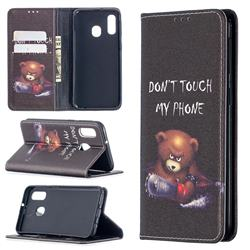 Chainsaw Bear Slim Magnetic Attraction Wallet Flip Cover for Samsung Galaxy A40