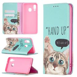 Hand Up Cat Slim Magnetic Attraction Wallet Flip Cover for Samsung Galaxy A40