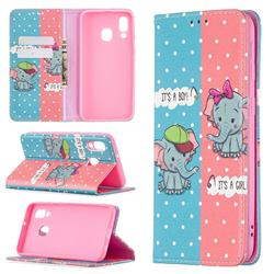 Elephant Boy and Girl Slim Magnetic Attraction Wallet Flip Cover for Samsung Galaxy A40