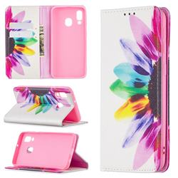 Sun Flower Slim Magnetic Attraction Wallet Flip Cover for Samsung Galaxy A40