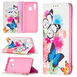 Flying Butterflies Slim Magnetic Attraction Wallet Flip Cover for Samsung Galaxy A40