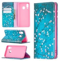 Plum Blossom Slim Magnetic Attraction Wallet Flip Cover for Samsung Galaxy A40