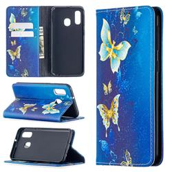 Gold Butterfly Slim Magnetic Attraction Wallet Flip Cover for Samsung Galaxy A40