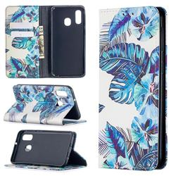 Blue Leaf Slim Magnetic Attraction Wallet Flip Cover for Samsung Galaxy A40