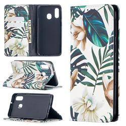 Flower Leaf Slim Magnetic Attraction Wallet Flip Cover for Samsung Galaxy A40