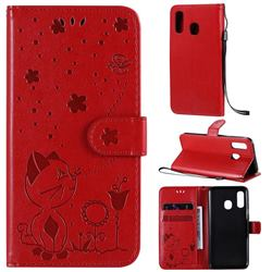 Embossing Bee and Cat Leather Wallet Case for Samsung Galaxy A40 - Red