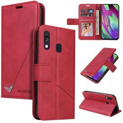 GQ.UTROBE Right Angle Silver Pendant Leather Wallet Phone Case for Samsung Galaxy A40 - Red