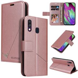 GQ.UTROBE Right Angle Silver Pendant Leather Wallet Phone Case for Samsung Galaxy A40 - Rose Gold