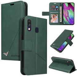 GQ.UTROBE Right Angle Silver Pendant Leather Wallet Phone Case for Samsung Galaxy A40 - Green