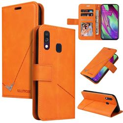 GQ.UTROBE Right Angle Silver Pendant Leather Wallet Phone Case for Samsung Galaxy A40 - Orange