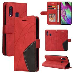 Luxury Two-color Stitching Leather Wallet Case Cover for Samsung Galaxy A40 - Red