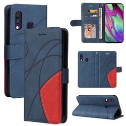 Luxury Two-color Stitching Leather Wallet Case Cover for Samsung Galaxy A40 - Blue
