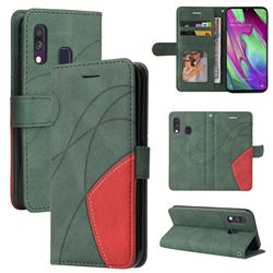 Luxury Two-color Stitching Leather Wallet Case Cover for Samsung Galaxy A40 - Green