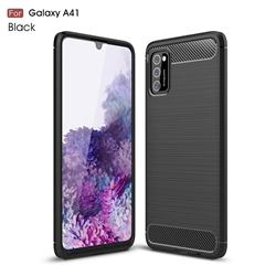 Luxury Carbon Fiber Brushed Wire Drawing Silicone TPU Back Cover for Samsung Galaxy A41 - Black