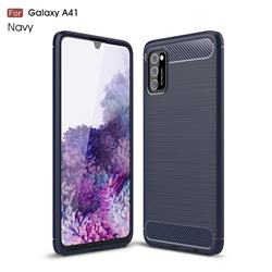 Luxury Carbon Fiber Brushed Wire Drawing Silicone TPU Back Cover for Samsung Galaxy A41 - Navy