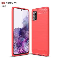 Luxury Carbon Fiber Brushed Wire Drawing Silicone TPU Back Cover for Samsung Galaxy A41 - Red