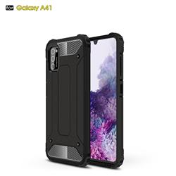 King Kong Armor Premium Shockproof Dual Layer Rugged Hard Cover for Samsung Galaxy A41 - Black Gold