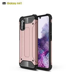 King Kong Armor Premium Shockproof Dual Layer Rugged Hard Cover for Samsung Galaxy A41 - Rose Gold