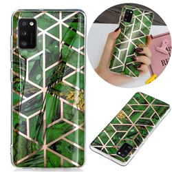 Green Rhombus Galvanized Rose Gold Marble Phone Back Cover for Samsung Galaxy A41