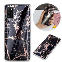 Black Galvanized Rose Gold Marble Phone Back Cover for Samsung Galaxy A41