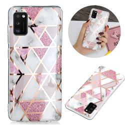 Pink Rhombus Galvanized Rose Gold Marble Phone Back Cover for Samsung Galaxy A41