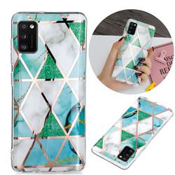 Green White Galvanized Rose Gold Marble Phone Back Cover for Samsung Galaxy A41