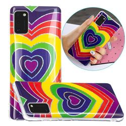 Rainbow Heart Painted Galvanized Electroplating Soft Phone Case Cover for Samsung Galaxy A41
