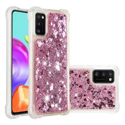 Dynamic Liquid Glitter Sand Quicksand Star TPU Case for Samsung Galaxy A41 - Diamond Rose