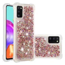 Dynamic Liquid Glitter Sand Quicksand TPU Case for Samsung Galaxy A41 - Rose Gold Love Heart