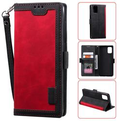 Luxury Retro Stitching Leather Wallet Phone Case for Samsung Galaxy A41 - Deep Red