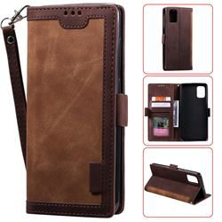 Luxury Retro Stitching Leather Wallet Phone Case for Samsung Galaxy A41 - Dark Brown