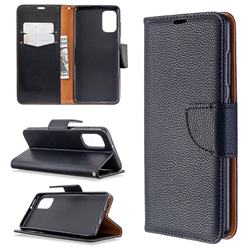 Classic Luxury Litchi Leather Phone Wallet Case for Samsung Galaxy A41 - Black