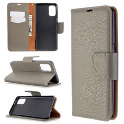 Classic Luxury Litchi Leather Phone Wallet Case for Samsung Galaxy A41 - Gray