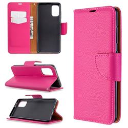 Classic Luxury Litchi Leather Phone Wallet Case for Samsung Galaxy A41 - Rose
