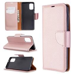 Classic Luxury Litchi Leather Phone Wallet Case for Samsung Galaxy A41 - Golden