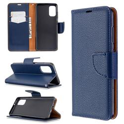 Classic Luxury Litchi Leather Phone Wallet Case for Samsung Galaxy A41 - Blue