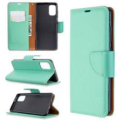 Classic Luxury Litchi Leather Phone Wallet Case for Samsung Galaxy A41 - Green