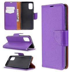 Classic Luxury Litchi Leather Phone Wallet Case for Samsung Galaxy A41 - Purple
