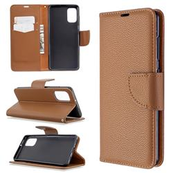 Classic Luxury Litchi Leather Phone Wallet Case for Samsung Galaxy A41 - Brown