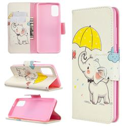 Umbrella Elephant Leather Wallet Case for Samsung Galaxy A41