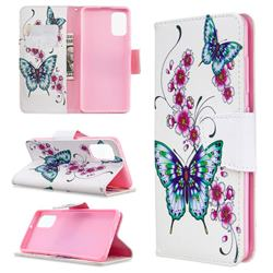 Peach Butterflies Leather Wallet Case for Samsung Galaxy A41